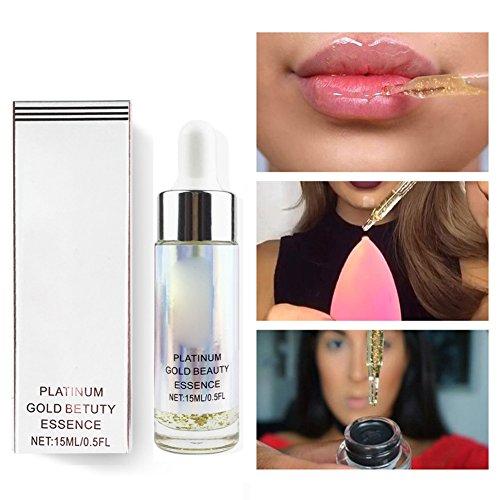 Allbesta 24K Gold Vitamin C Vitamin E Serum Make-Up Essence Oil für Gesicht Lippen Primer Grundierung Feuchtigkeitsspendend Anti-aging