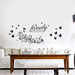 Walplus Wall Stickers Family Birds Quote Small Butterfly Vine Removable Self-Adhesive Mural Art Decals Vinyl Home Decoration DIY Living Bedroom Office Décor Wallpaper Kids Room Gift, Multi-colour