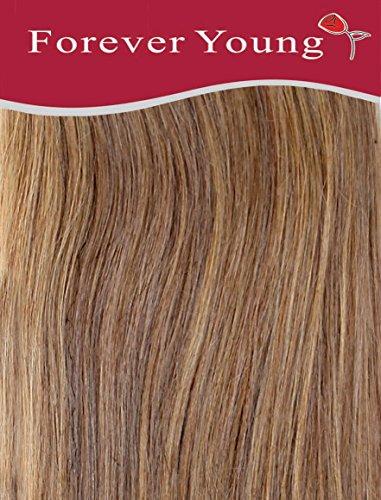 Forever Young Echthaar Extensions Clip in Remy-Echthaar halben Kopf 40g 45,7cm Länge caramel braun # 10