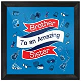 Indigifts Raksha Bandhan Gifts For Brother Brother To An Amazing Sister Quote Printed Blue Poster Frame 6x6 Inches - Rakhi Gifts For Brother, Birthday Gift For Brother, Rakshabandhan Gifts