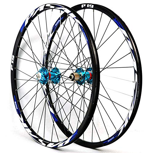 "LHLCG 27.5""Mountain Bike Wheel Aluminum Alloy Double Rims Disc Brake Quick Release Type Drum Wheels Set,bluedrumbluelabel"