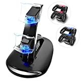 YCCTEAM Dualshock 4 Dual USB Charging Charger Docking Station Stand for Sony Playstation 4 PS4,PS4 Slim,PS4 Pro Controller, Black