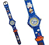 3-D Kinderuhr Schiff - Uhr Kinder Armbanduhr Silikon Matrose Steuerrad Wasser Jungen blau Analog