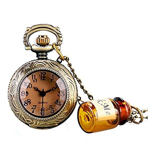 Vintage-Halskette-Uhr-Flakon-Drink-Me-Flasche-Bronze