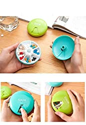 7 Slots Rotating Smile Pill Box Travel Medicine Case Tablet Storage Container Organizer (Multi Color)