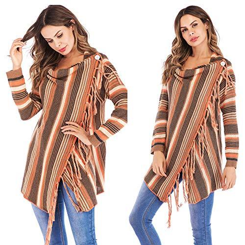 WWricotta Women Stripes Poncho Fall Tassels Slash Gradient Shawl Hem Fringe Loose Sweater(Orange,L) Fringe-leggings