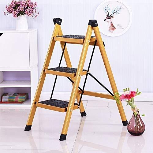 Faltbare Bewegliche Stufenleitern Ladder Startseite Folding Trittschemel-Two Step/Drei Stufenleiter Griffige Pedal Ladder Insulated Ladder Gold-Teh Leitern,3StepLadder