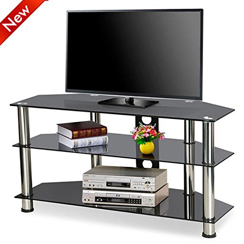 Popamazing Modern 3 Layer/tier Black Toughened/tempered Glass Tv Cabinet/stands/unit Home Living Room Furniture