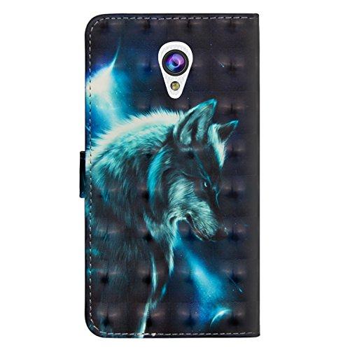 sinogoods Für Alcatel U5 3G / 4047D / 4047 Hülle, Premium PU Leder Schutztasche Klappetui Brieftasche Handyhülle, Standfunktion Flip Wallet Case Cover - Wolf
