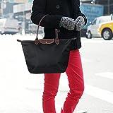 Large Tote Bag, Meersee Large Shoulder Bags foldable Shopping Bags with Zip Beachbag Plain Nylon Shoulder Bag for Women (L, Black)