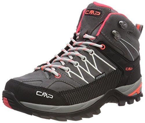 CMP Damen Rigel Mid Trekking-& Wanderstiefel, Grau (Grey-Red Fluo 46ak), 40 EU