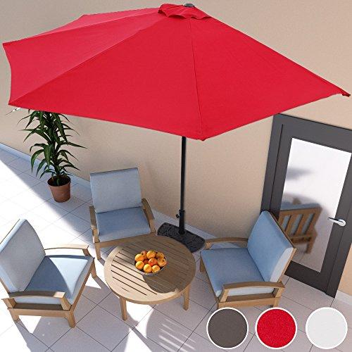 Sonnenschirm anthrazit Ø 3m mit Kurbel halbrund UV-Schutz 50+ - Terrassen Sonnenschirm Balkonsonnenschirm Terrassenschirm Balkonschirm