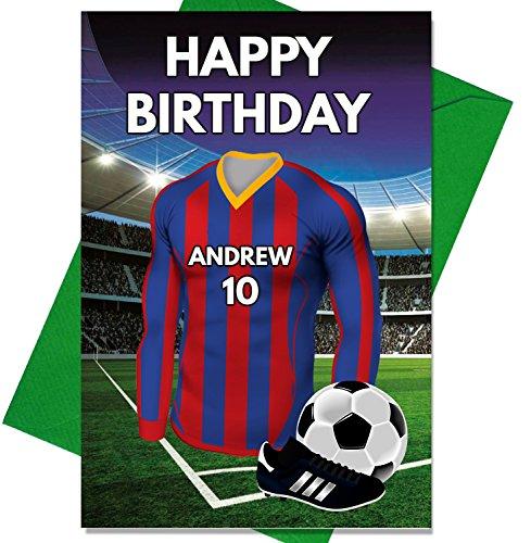 Personalisierbare Geburtstagskarte, Fußball-Motiv inkl. Trikot-Motiv in den Farben des FC Barcelona, geeignet für Vater, Ehemann, Sohn, Tochter, Mutter