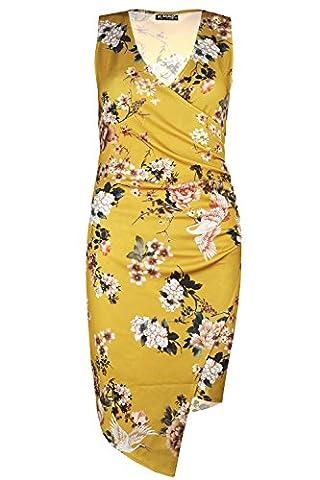 Womens Ladies Floral Asymmetric Drape Side Ruched Wrap Over Midi Bodycon Dress