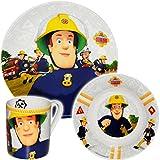 Unbekannt 3 TLG. Geschirrset -  Feuerwehrmann Sam Jones  - Porzellan / Keramik - Trinktasse + Teller + Müslischale - Kindergeschirr - Frühstücksset für Kinder - Junge..