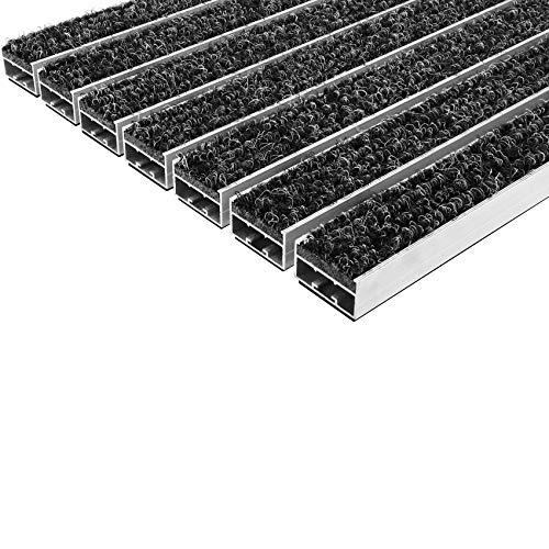 Desan | Eingangsmatte | Ultra Mat | 22mm Alu - Fußmatte | Für außen und innen | Türmatte für die Haustür | 3 Größen | Anthrazit | Textilrips | 39 x 59 cm