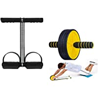 EVERYONIC Single Spring Tummy Trimmer and Double Wheel AB Roller Combo for Abs Core Abdominal Workout Back Exercise…