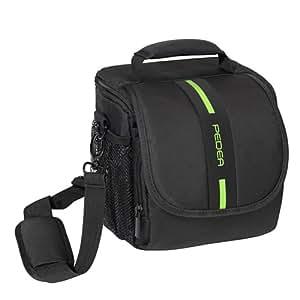 PEDEA SLR Kameratasche für Sony SLT-A58K, SLT-A58Y / Canon EOS 80D, 1100D / Nikon Coolpix P900 / Panasonic Lumix DMC-FZ1000 (Größe M) schwarz/grün mit Displayschutzfolie