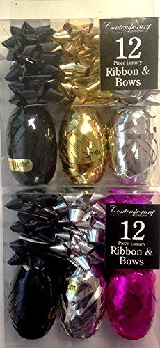 Packung 2x -12 Stück Bögen / Farbband Geschenkverpackung in Gold, Silber, Schwarz & Magentarote (Bogen Und Farbband)