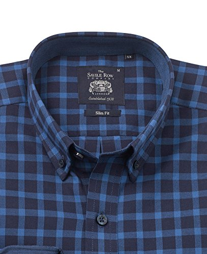Savile Row Men's Blue Navy Brushed Twill Check Slim Fit Casual Shirt Blue Navy