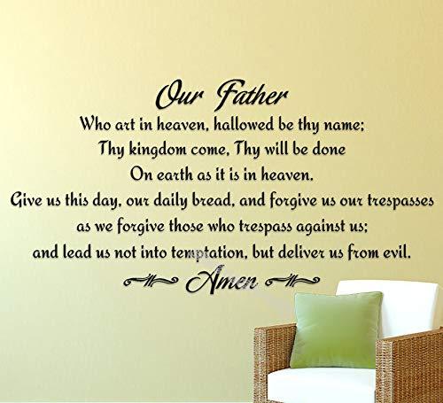 yiyiyaya Vater unser Gebet Wandaufkleber Religiöse Gott Schrift Beten Amen Wandtattoo dekorwohnzimmerschlafzimmerkücheAufkleber107 * 56 cm