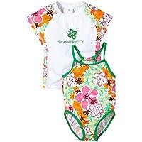 SnapperRock Traje de baño UV y camiseta UV niñas, Naranja/Verde/Blanco (Orange/Green/White), talla 2-3 años, 98-104cm
