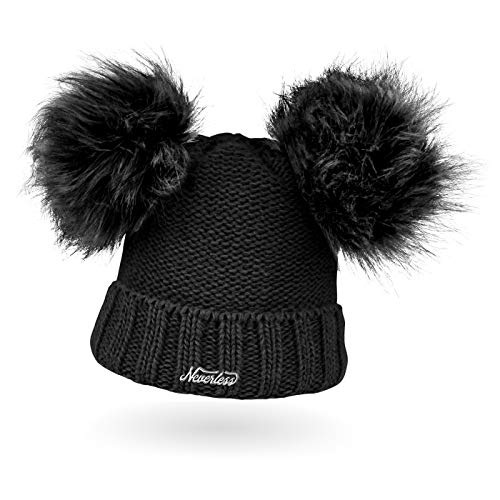 Neverless® gefütterte Damen Strickmütze mit Doppel-Fell-Bommel und Fleece Futter, Winter-Mütze, Bommelmütze schwarz