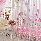 Bluelover 100X200Cm Weicher Tulle-Tulpe-Blumen-Fenster-Schirm-Hauptscherender Fenster-Vorhang