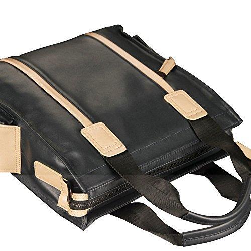 Oneworld Herren Rindleder Messenger Bag Aktentasche Schultertasche Notebooktasche Handtasche Umhängetasche Schultasche 29x30x11cm(BxHxT) Dunkel Blau Beige und Dunkel Blau
