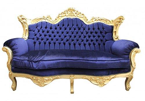 Barock 2er Sofa Master Royal Blau/Gold 2Mod - Wohnzimmer Couch Möbel Lounge