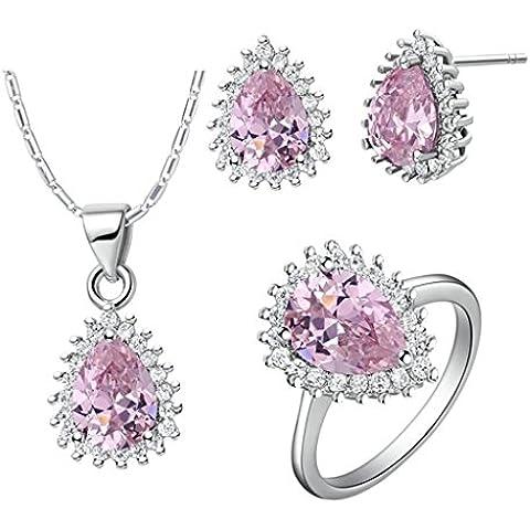 AieniD Conjunto de Collar Anillos y Aretes para Mujer Chapado en Plata Rosa Pera Diamante de Imitación con Montura de Canal