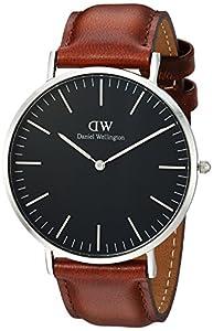 57d38ce52 Daniel Wellington DW00100130 - Relojes en acero inoxidable con correa de  piel, Unisex, color negro/marrón de Daniel Wellington