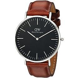 Daniel Wellington Reloj analogico para Unisex de Cuarzo con Correa en Piel DW00100130