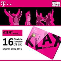 T-Mobile Prepaid Data SIM Only with 16GB LTE Data Credit For Austria Triple Sim Card