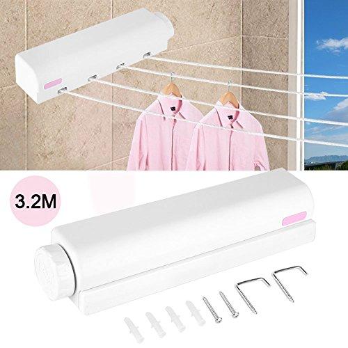 Retractable Wandtrockner Wäscheleine 3,2m 4 Linien Kleidung Airer Seil Indoor Wall Mounted Wäsche Wäscheleine Wäscheständer ideal fürs Badezimmer oder den Balkon