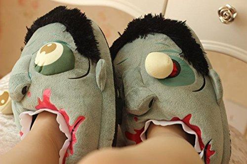 lifewheel Unisexe Chaussons en peluche Zombie Halloween cadeau idéal Funny coton maison pantoufles chaussures cosplay costume half coverage
