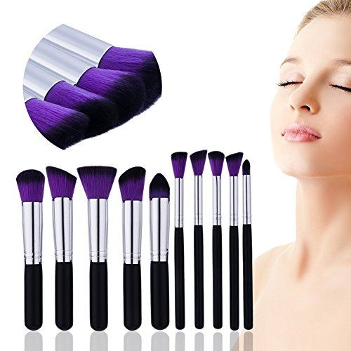Lot de brosse de maquillage 10 pcs Premium Pinceaux de maquillage professionnel Fond de teint blending Contour Fard à paupières Blush à lèvres Yeux Visage Cosmétique Lot Pinceaux Outil de beauté