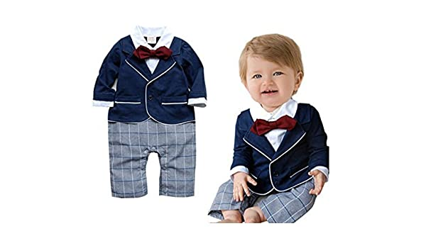 a185fd4143a9 Baby Boy Smart Tuxedo Romper Suit Formal Outfit Pageboy Wedding Christening  3-6Months Blue Size: 3-6 Months Color: Blue, Model: WANG73740-70, Newborn &  Baby ...