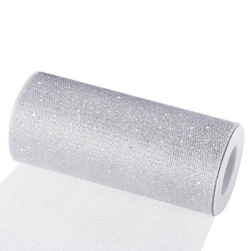 lband Tischläufer Tischband Tüllnetz für Hochzeit Party Bankett Deko Handwerk 15cm x 22.5m pro Rolle (Silber mit Glitzer) ()