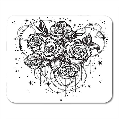 Mouse Pads Floral Beautiful Roses in Linear with Sacred Geometry and Stars Tattoo Graphic Vintage Composition Mouse Pad for Notebooks,Desktop Computers Mouse Mats, Office Supplies