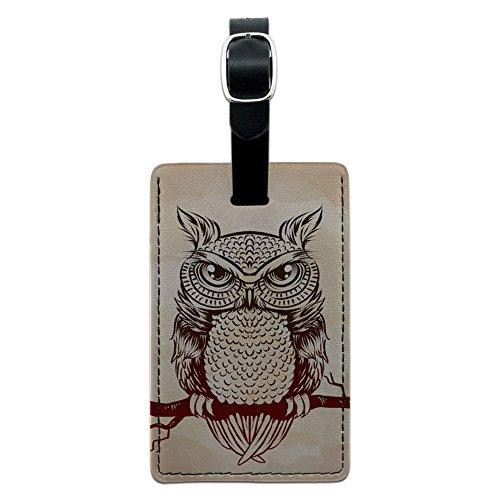 Eule auf Ast Rustikal–Bird Leder Gepäck ID Tag Koffer Handgepäck (Rustikale Koffer)