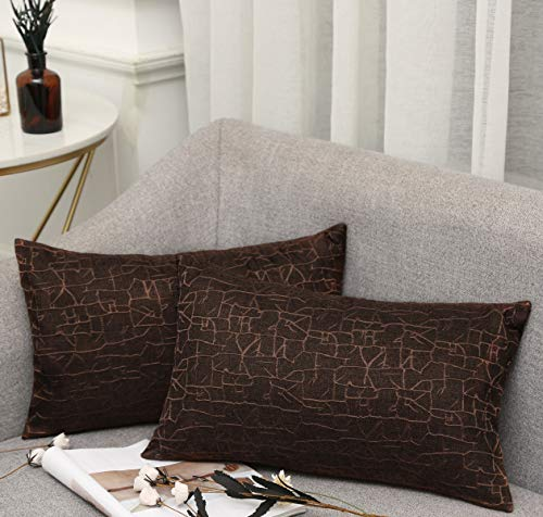 Vioaplem - Funda de cojín Bordada de algodón, Lino, para sofá, Dormitorio, hogar, 45 x 45 cm, marrón...