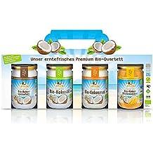 Dr.Goerg Bio Premium Kokos- Quartett - Je 1 Glas Kokosöl, Kokos-Speisefett, Kokosmus und Kokos-Blütenzucker