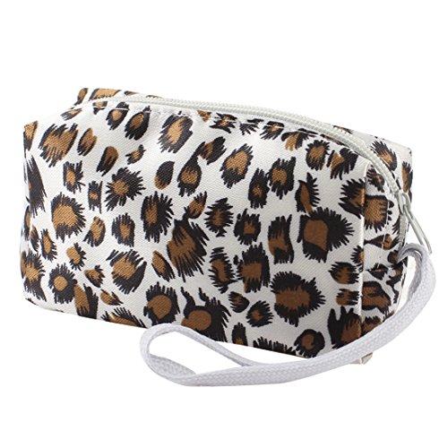 sourcing map® Zipper Verschluss braun Leopard weiße Farbe Geldbörse Portemonnaie für Frauen