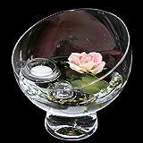 Runde Glas-Schale Nantes Höhe 19cm ø 19cm. Abgeschrägte Dekoschale mit Dekorations Set Rose rosè Dekoglas Glasgefäß ausgefallene Deko für Ihre Deko Ideen. Glasdeko von Glaskönig