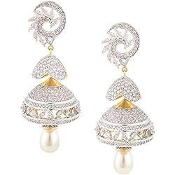 Swasti Jewels American Diamond CZ Fashion Jewellery Traditional Jhumka Earrings for Women (WHITE)