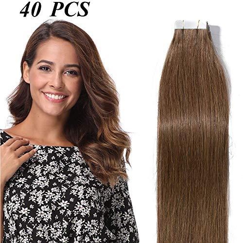 Tape in Extensions Echthaar Haarverlängerung Klebeband Haarteil 100% Remy Human Haar (40 stück+10pcs free tapes) Hellbraun#6 18