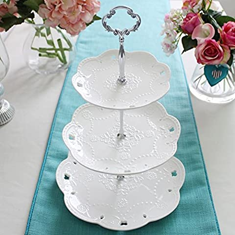 Creative continentale Soggiorno Frutta strato 3 Snack Shelf di dischi il tè del pomeriggio torte dolci goffrato in ceramica nozze elegante ,25.8*.8cm,7