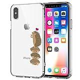 Cover iPhone X Trasparente, iPhone X Cover Silicone Ultra Slim Custodia in Silicone Antiurto No-Slip Anti-Graffio Semi Morbido Ultra Slim con Disegno per Apple iPhone X iPhone 10 (Riccio)