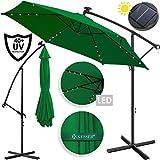 Kesser® Alu Ampelschirm LED Solar ✔ Ø300cm ✔+ Abdeckung ✔ mit Kurbelvorrichtung ✔ UV-Schutz ✔ Aluminium ✔ mit An-/Ausschalter ✔ Wasserabweisend - Sonnenschirm Schirm Gartenschirm Marktschirm Grün